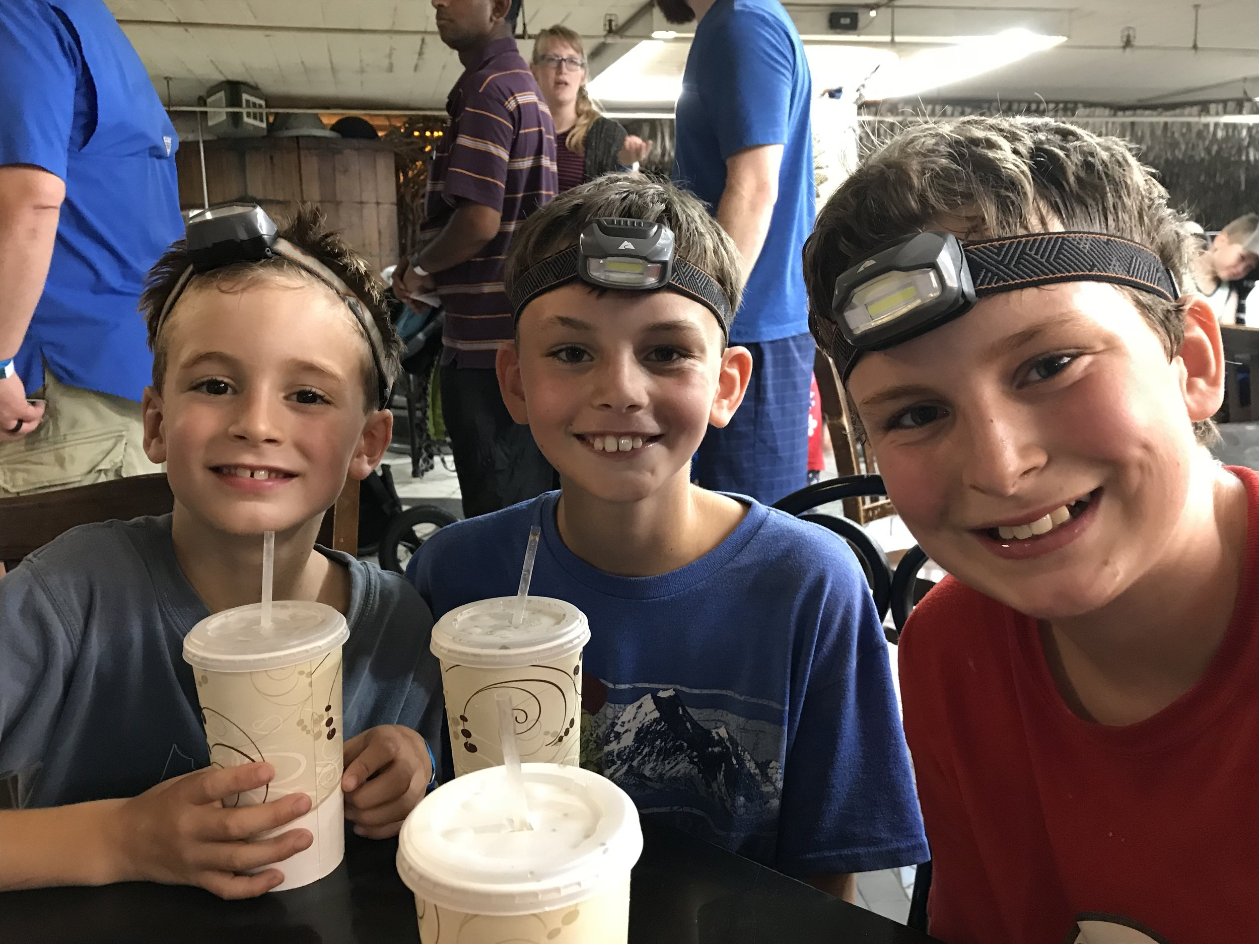 Three sweaty, but very happy boys taking a rest after exploring the caves, tunnels, slides, and secret passageways at City Museum. How convenient that headlamps were already a part of our gear!