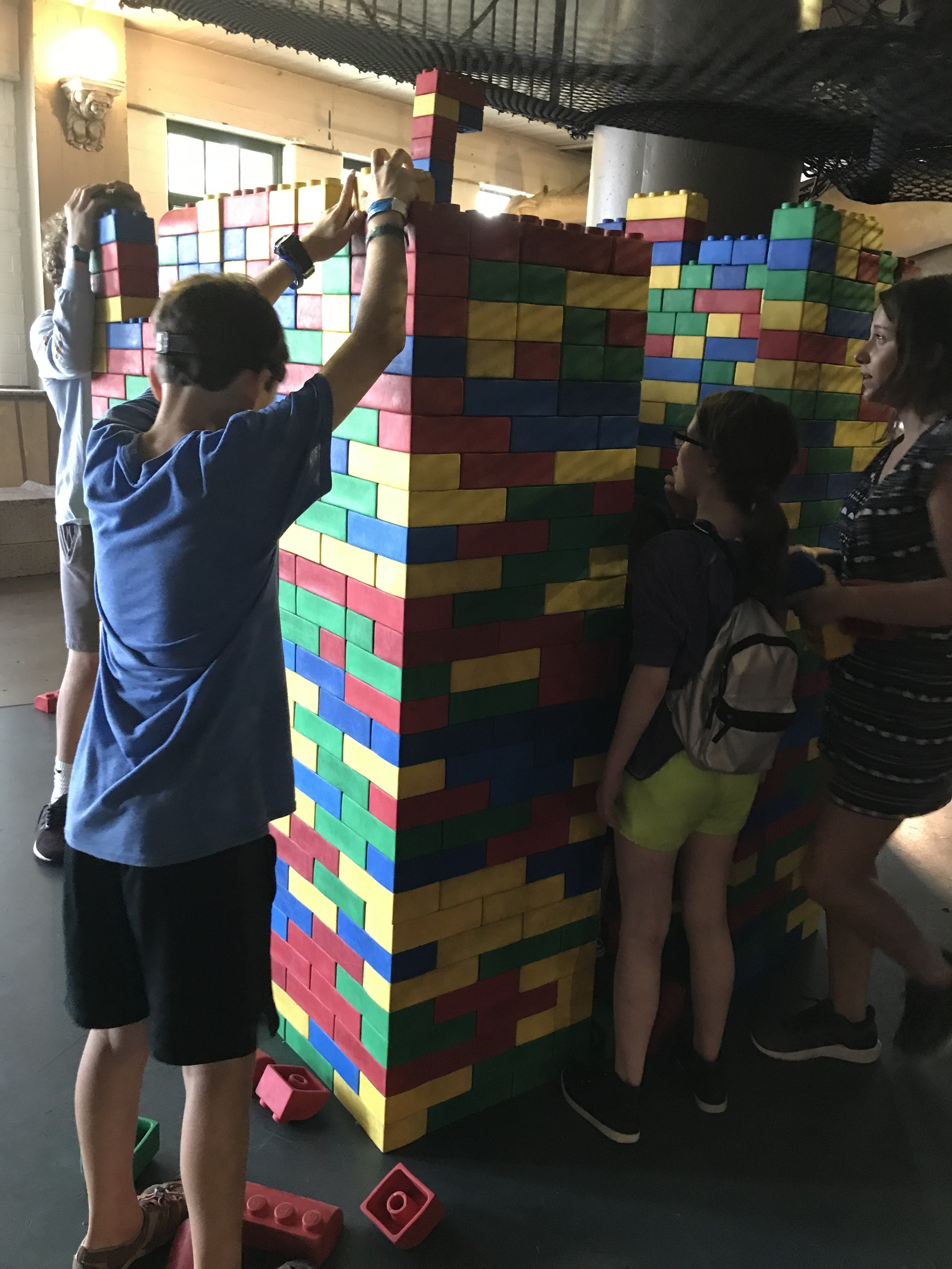 Life-sized LEGO tower that the kids were contributing to (City Museum)