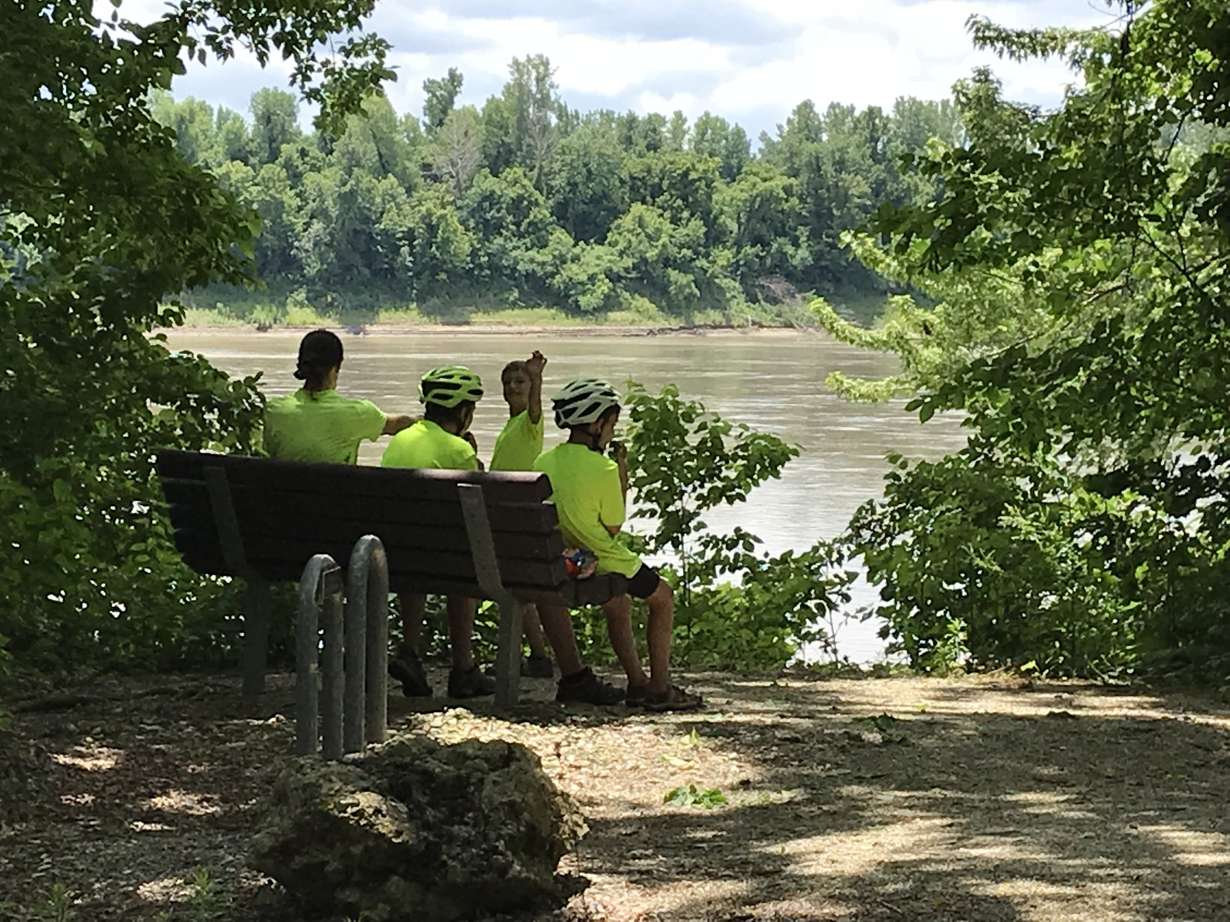 Stopped for lunch along the Katy Trail at this beautiful spot overlooking the Missouri River. Just across is likely where Lewis and Clark stepped foot as they were on their journey west.