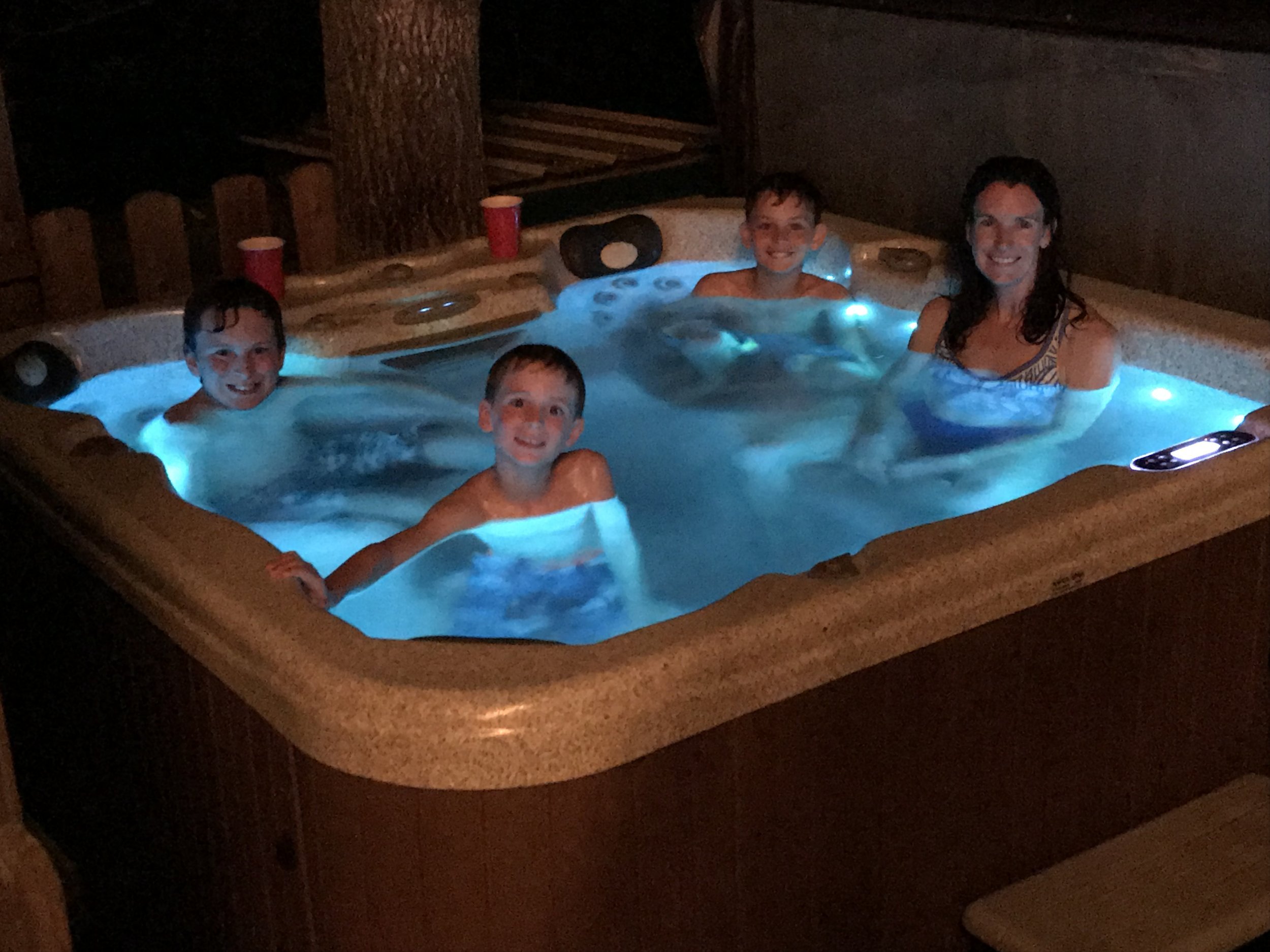 Pretty rough, hugh! Here we are enjoying the hot tub at Tim and Kathy's house in Rocheport, MO.