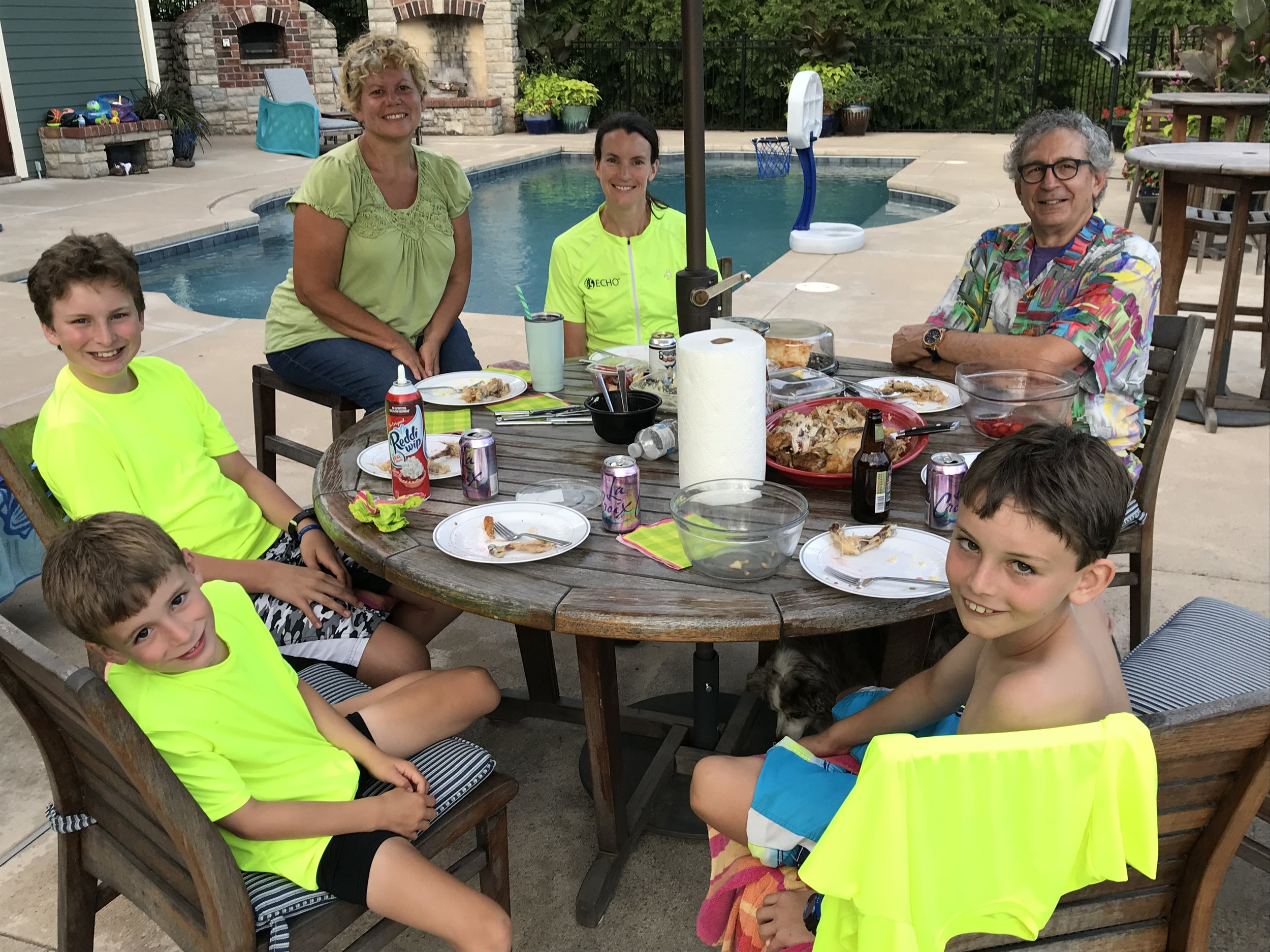 Here we are enjoying a yummy dinner with Cee Jaye and John out by their pool. They were so gracious to pick up some dinner to share with us just before we left Rocheport, MO!