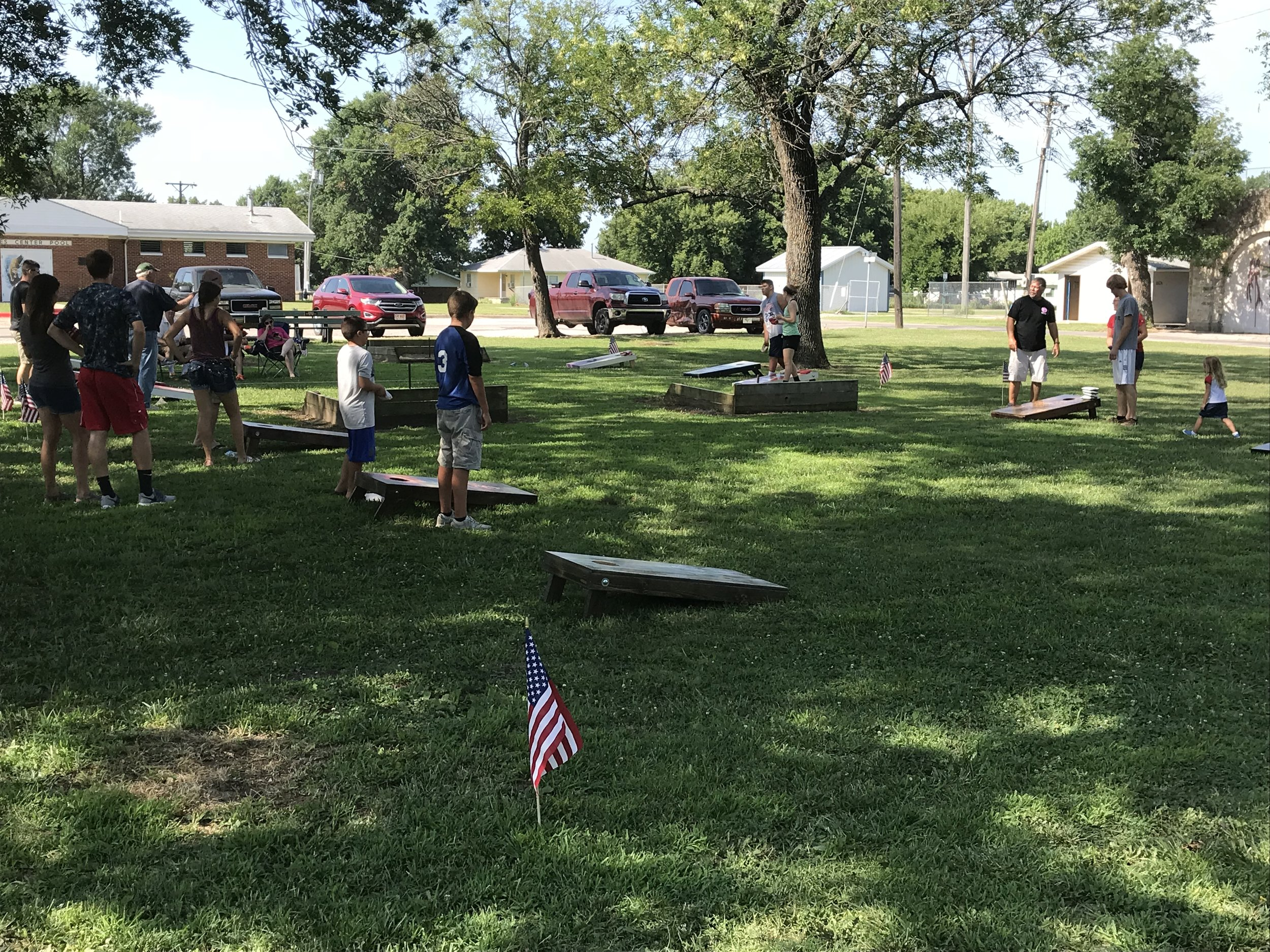 The cornhole tournament after the biscuits & gravy breakfast.  We didn't participate- we needed to get on the road.