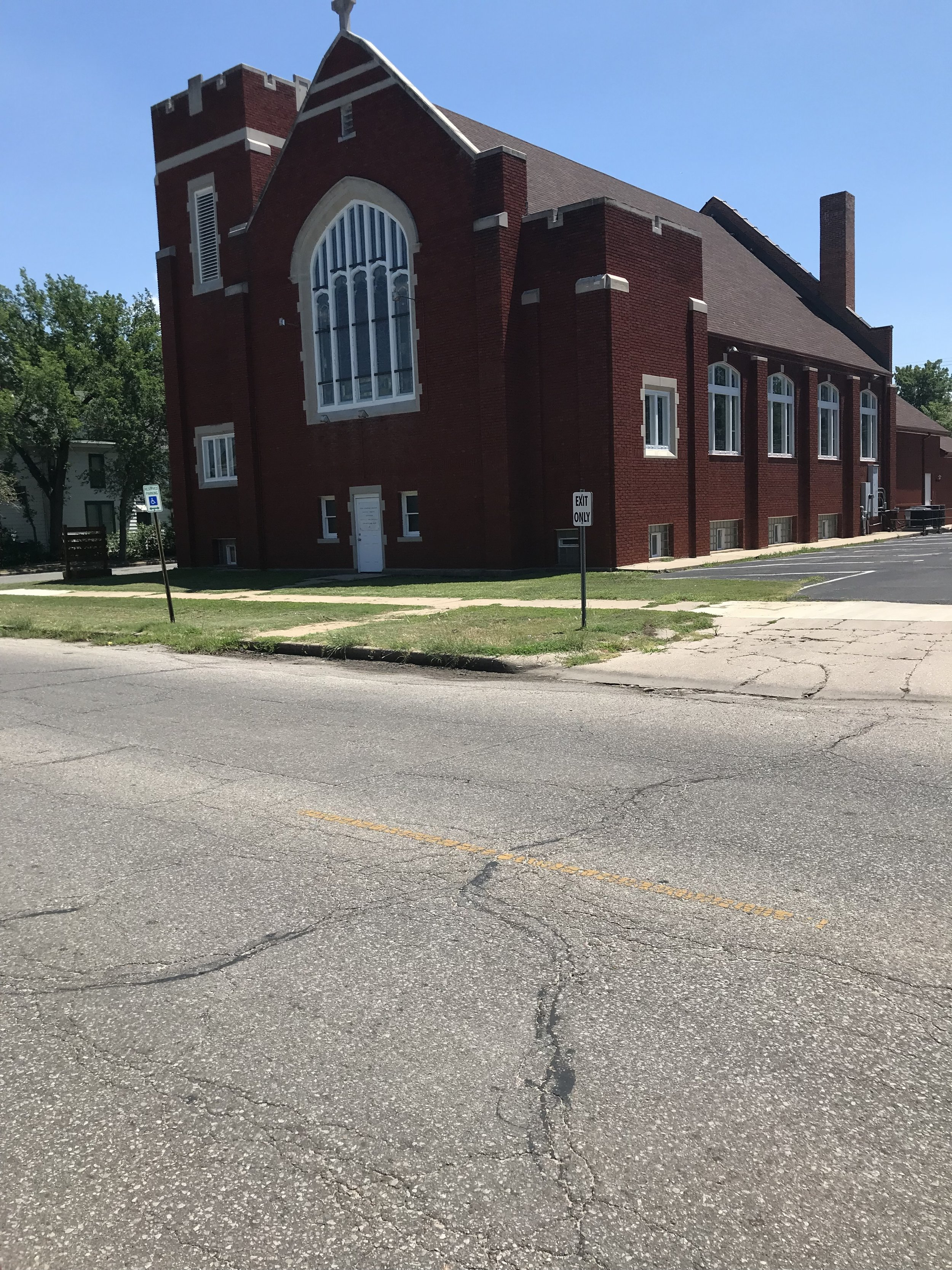 Zion Lutheran Church in Hutchinson that hosts through-cyclists (hostel-like). We were thankful for the shower, beds, and AC here after our record-breaking 70-mile day!
