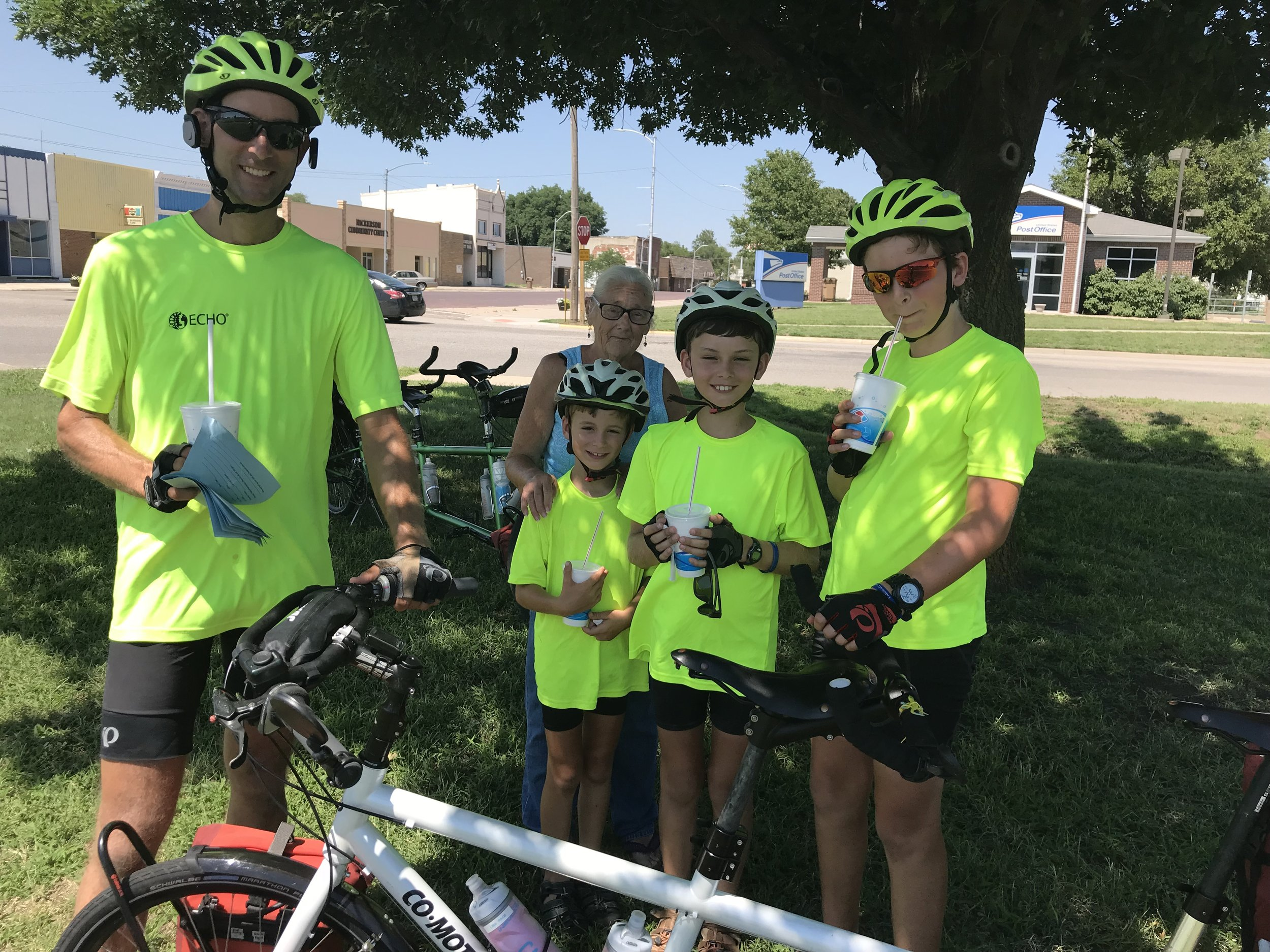 As we were passing through the town of Nickerson, KS, we stopped for a snack break under the shade of a tree. A sweet woman quickly approached us to welcome us to the town and let us know of all the town has to offer. As we were about to finish up, she returned with ice water for each of us. What kindness!