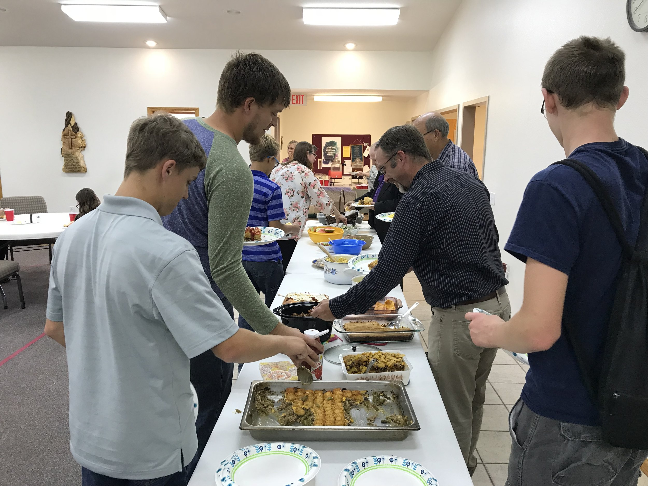 After the church service, we were invited to a potluck lunch. What a blessing to get to know these dear people and fill our bellies before our afternoon ride. (We even had some food to contribute to the potluck!) 😊
