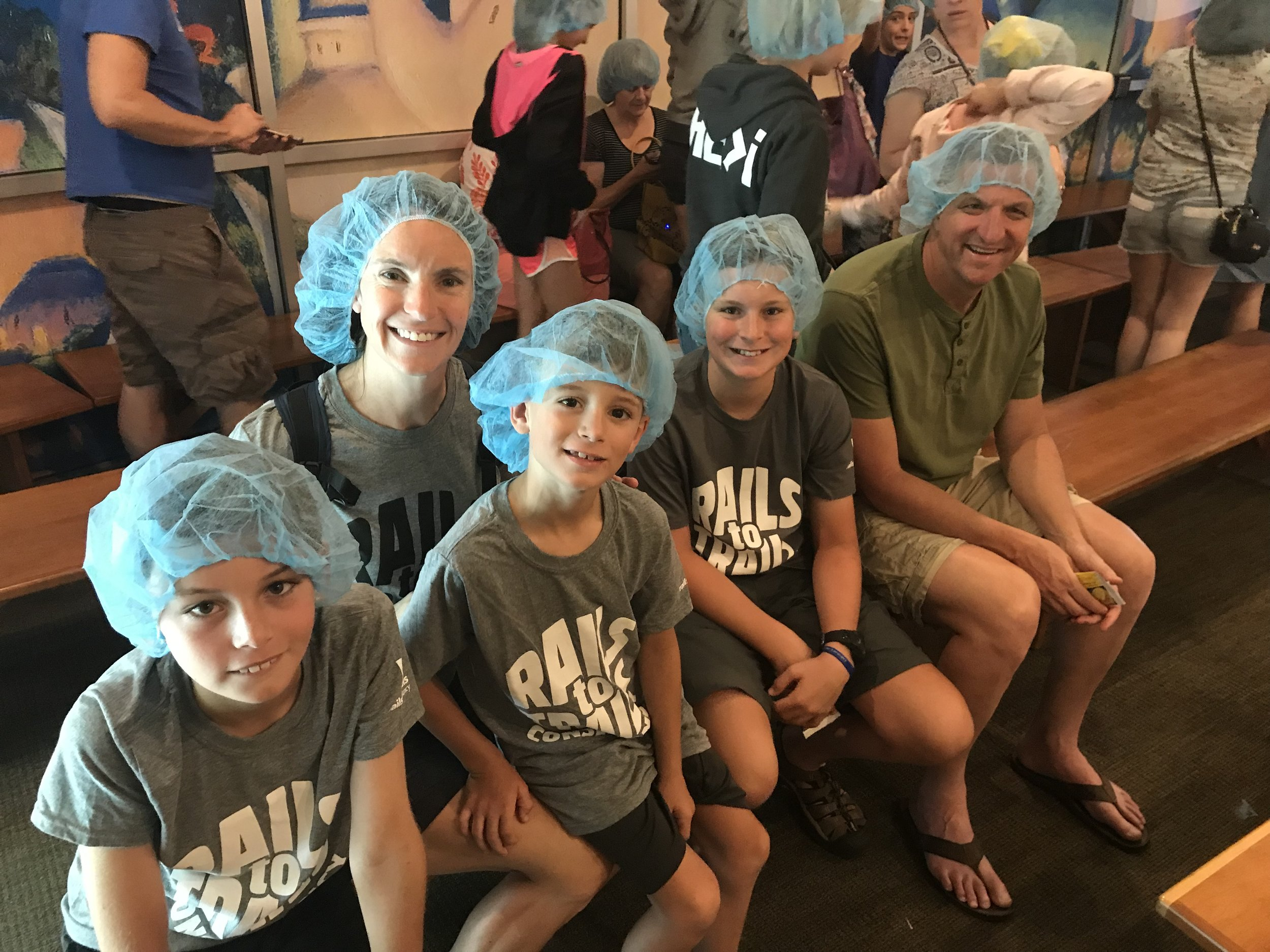 Aren't we a sight in our hairnets! ...about to tour the Celestial Seasonings factory, complete with stepping into the mint room (a highlight of the tour with its aromatherapy effects).