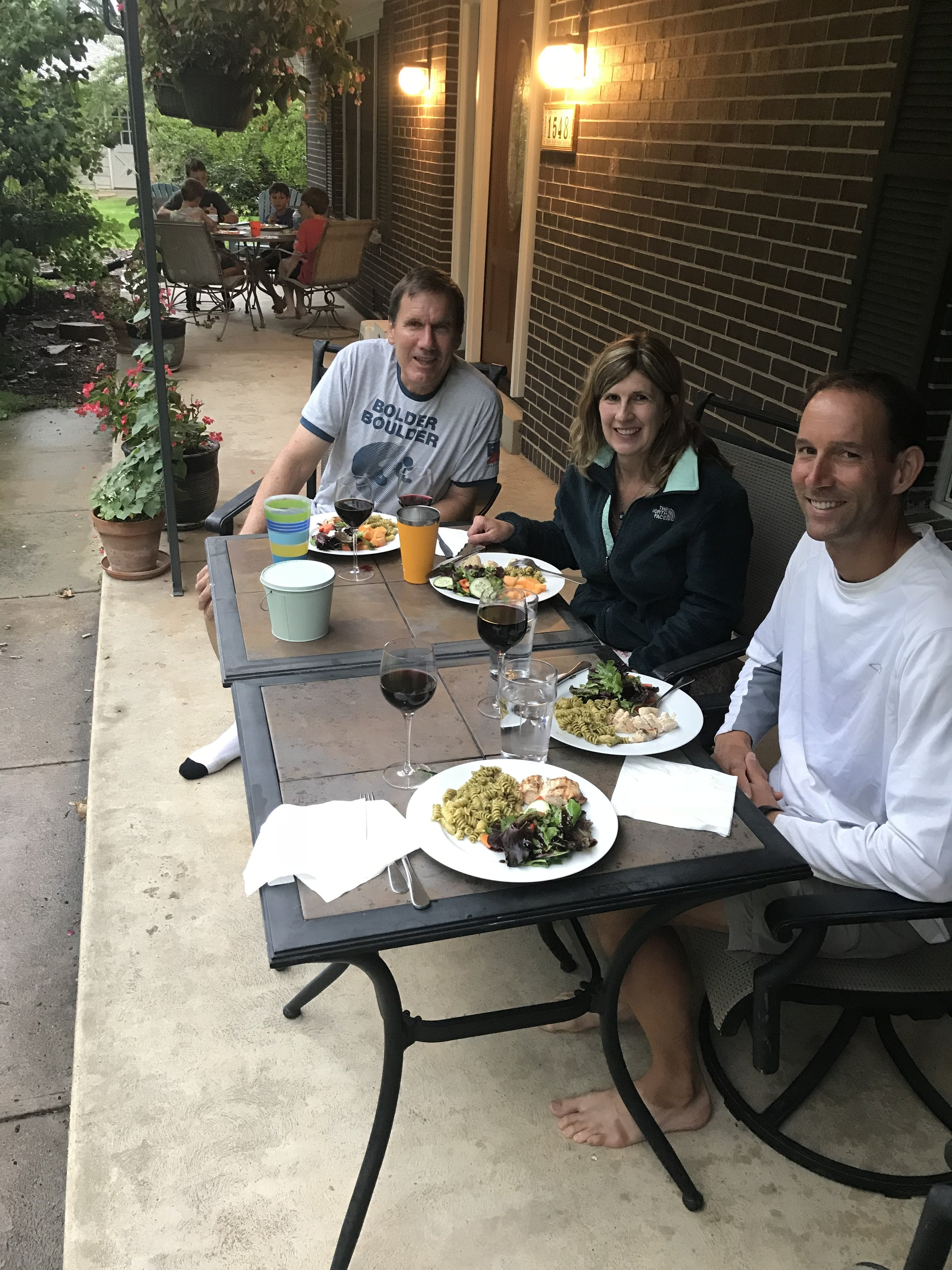 What a pleasant evening eating dinner together on Craig and Susan's front porch! We were excited that Craig had made his family's recipe of pesto, which we've been using for years at home and that we had been craving on the bike trip.