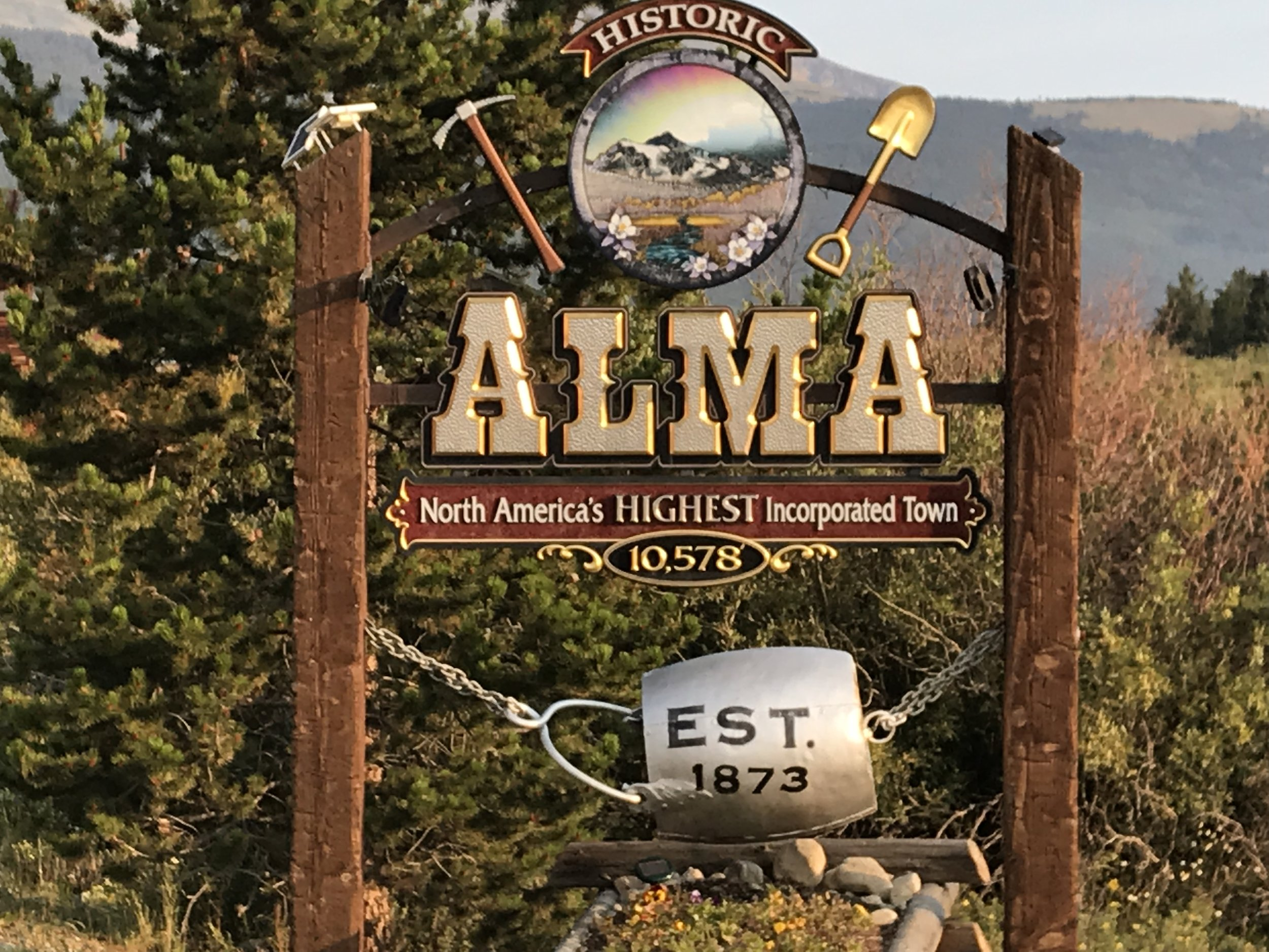 And on our way to Hoosier Pass, we pedaled through the town of Alma (highest incorporated town in North America-see sign), where we also picked up some instant hand warmers for the boys.