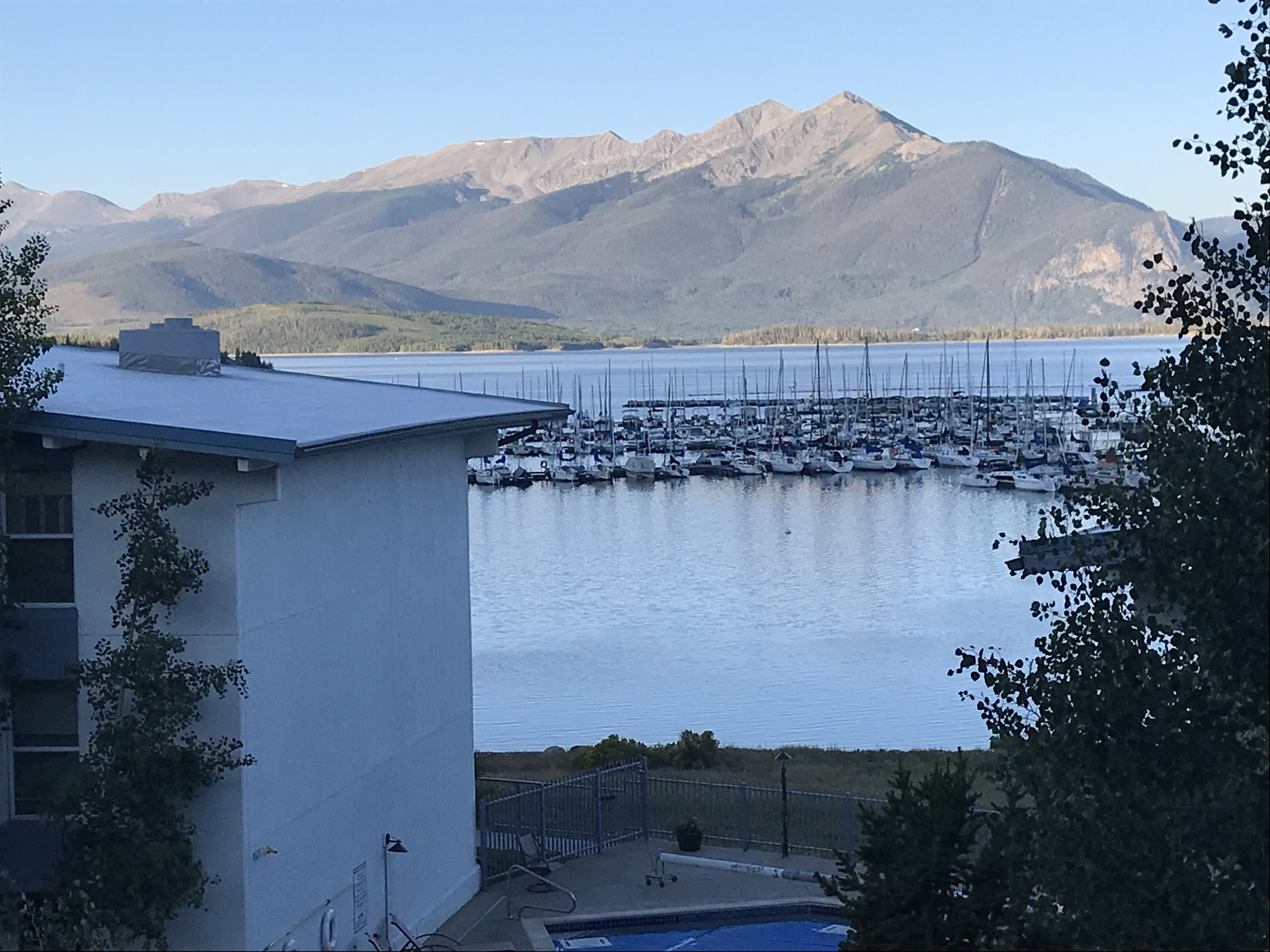 What a great view off of the balcony of the condo: Lake Dillon with the Rockies in the background!