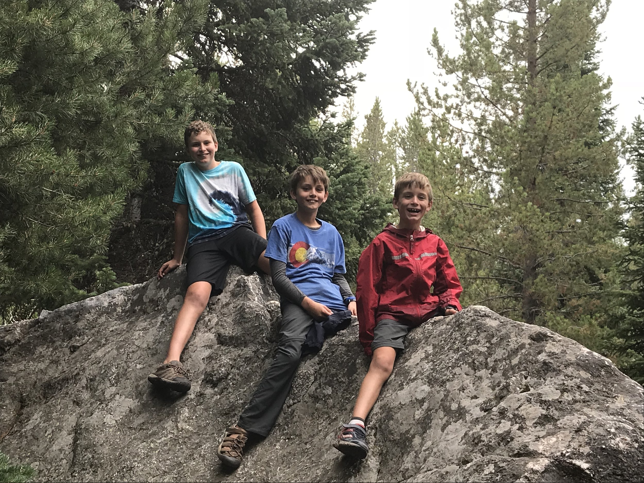 A fun rock the boys climbed on during a hike we took around Jenny Lake.