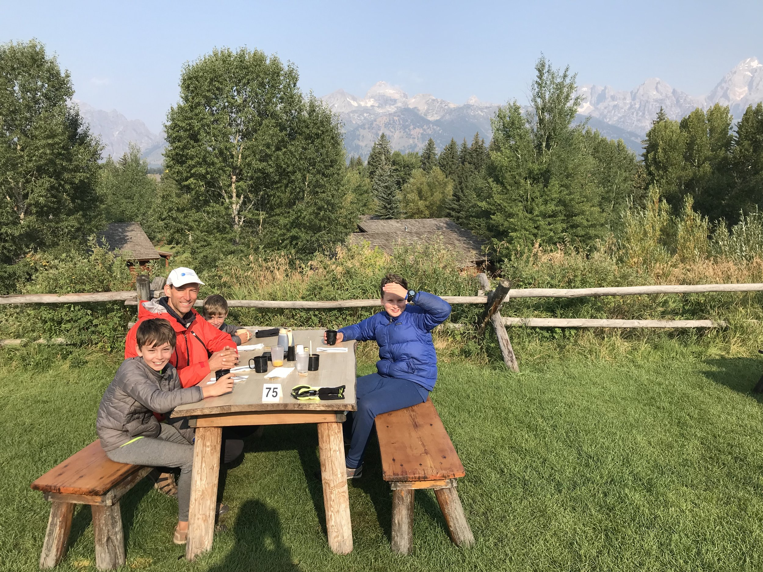 We got an early start on this final day- that we were able to stop for breakfast at this cool outdoor restaurant overlooking the Tetons.