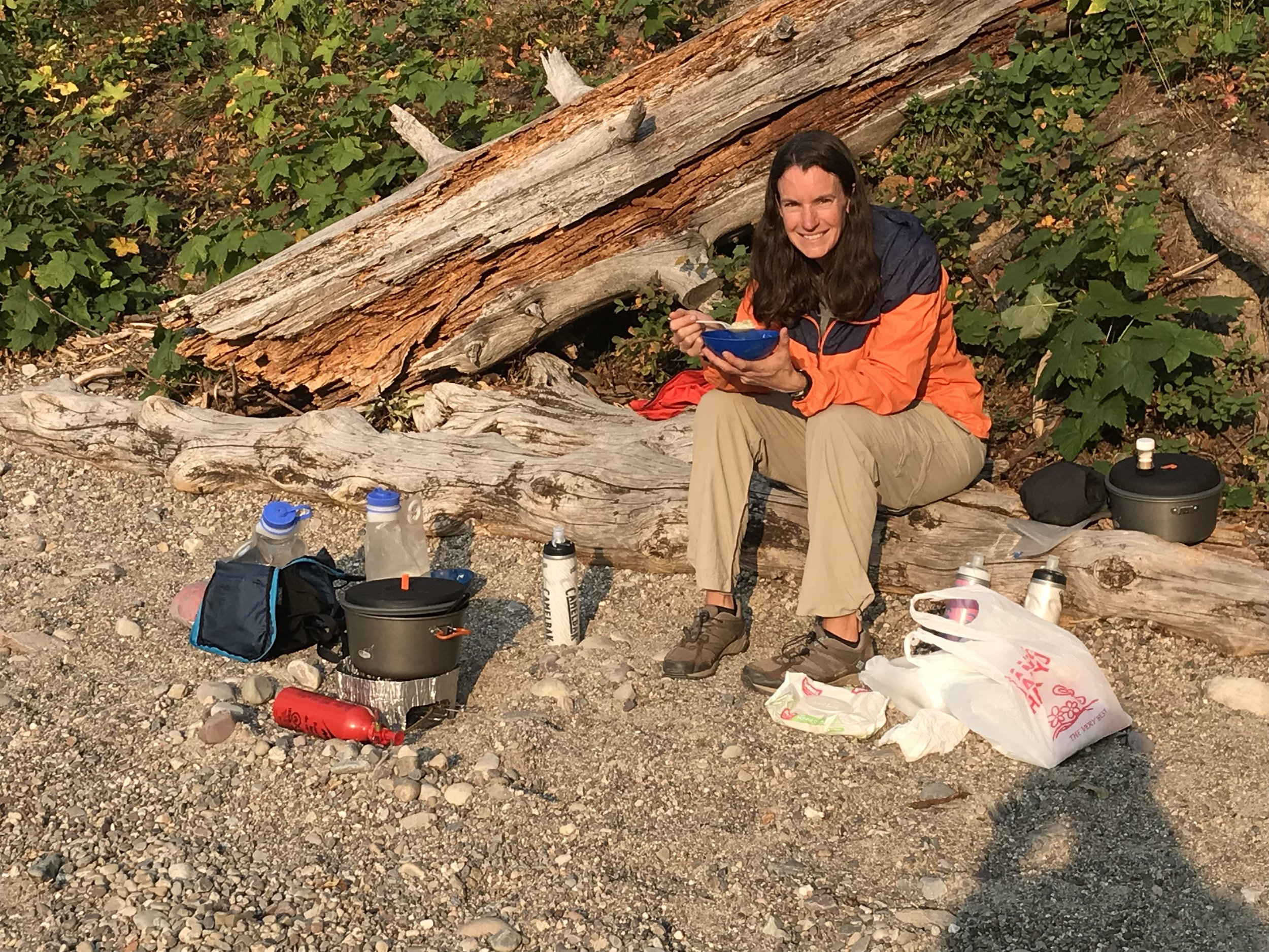 Our last camp dinner: on the shore of Jenny Lake, using up our freeze-dried contingency food.
