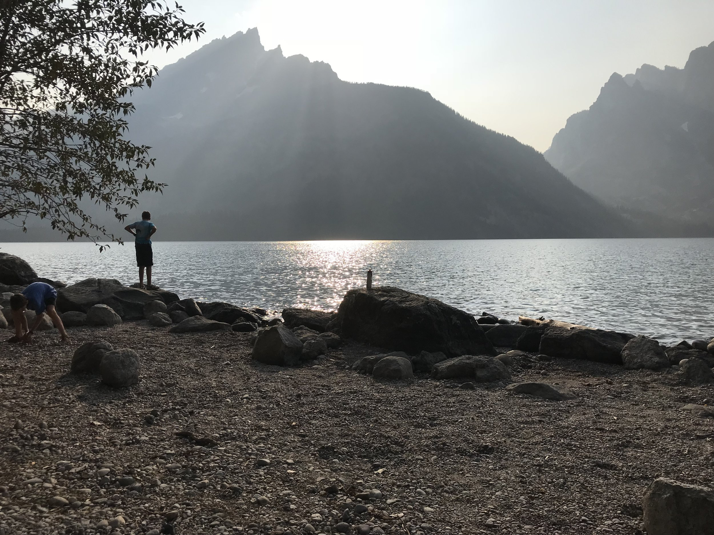 Our peaceful view while cooking dinner on our last night (Jenny Lake).