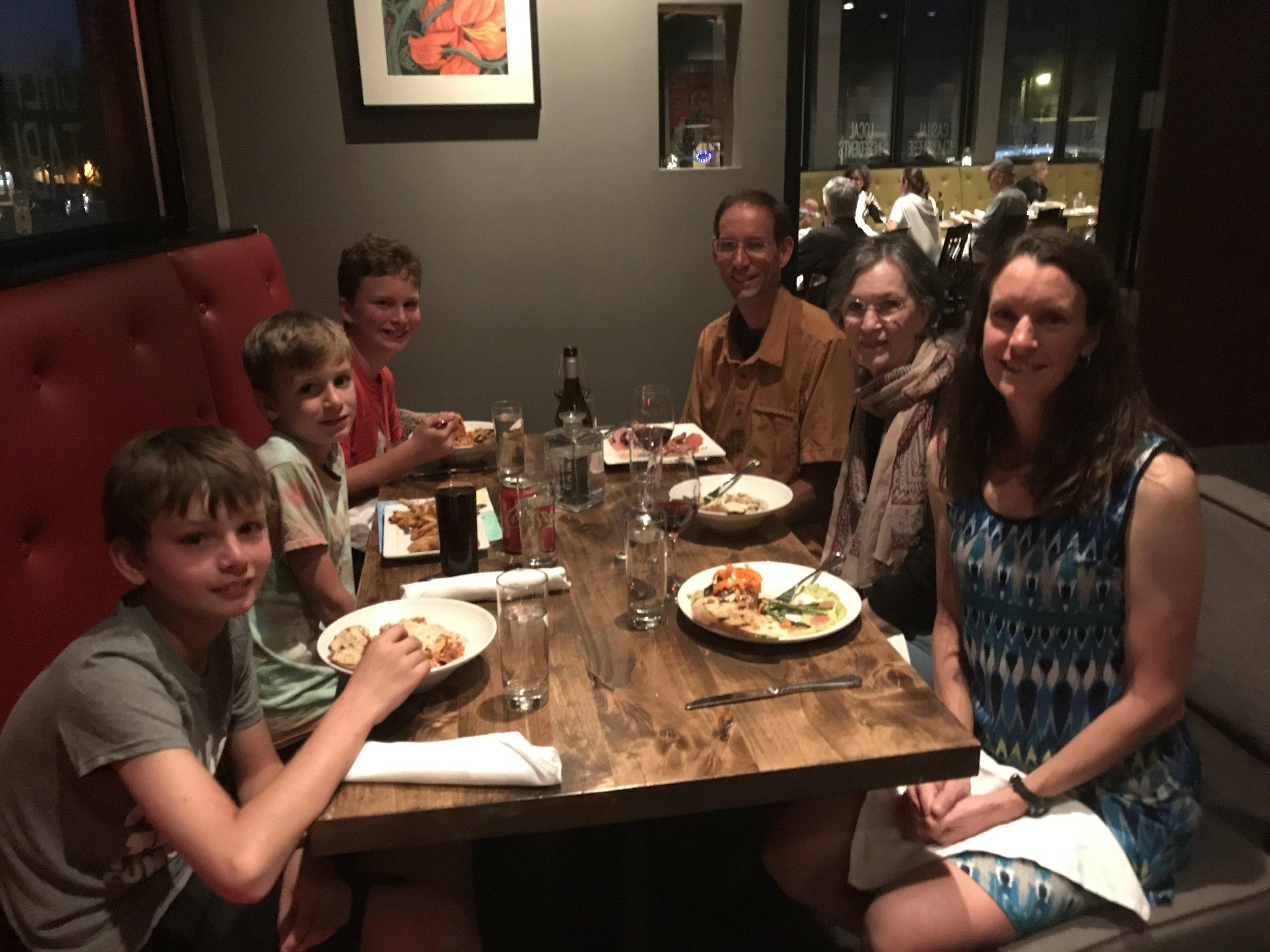 Celebration dinner for finishing our journey.