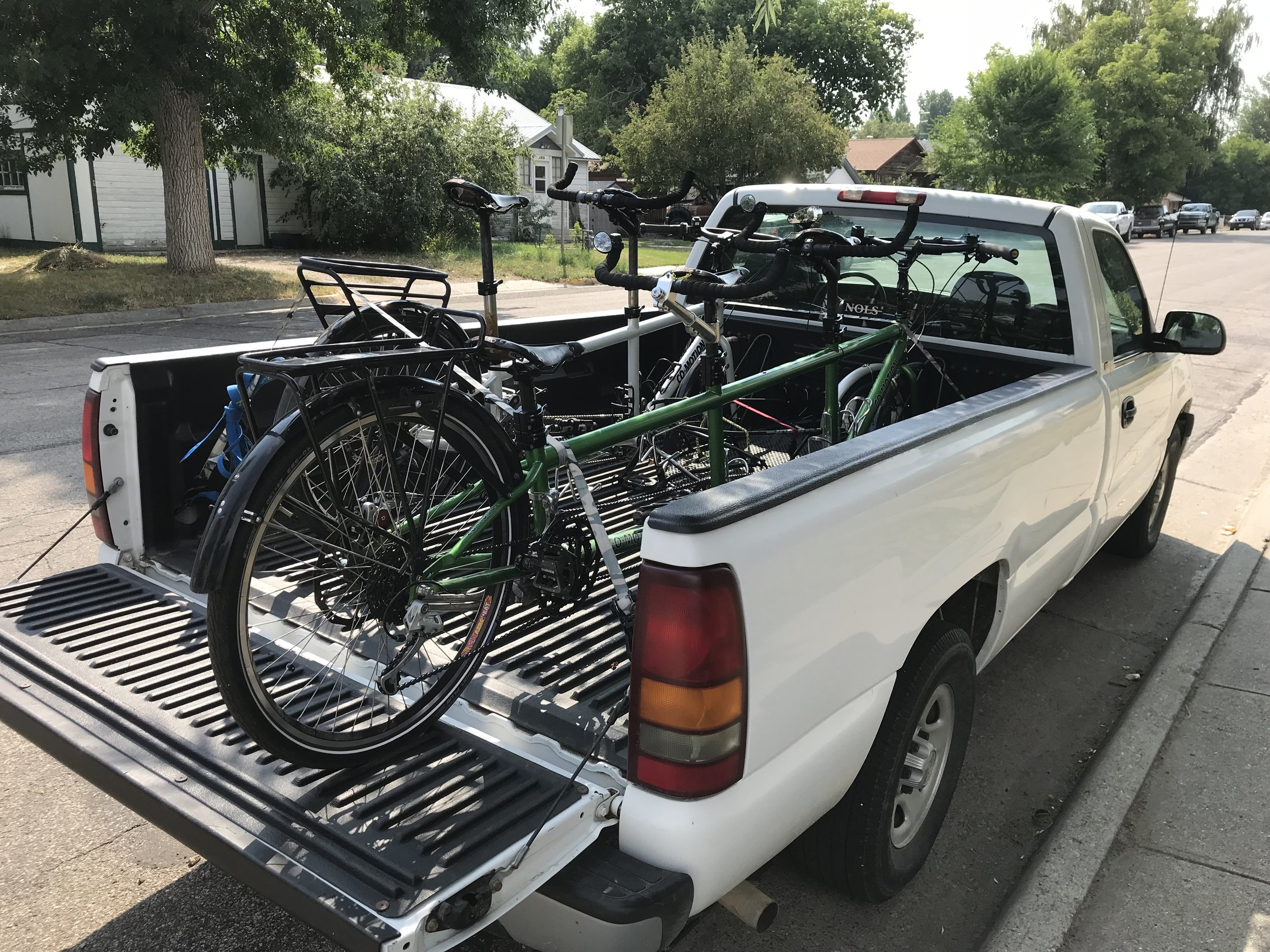 These are the bikes on the pick-up truck we borrowed in Lander, WY.