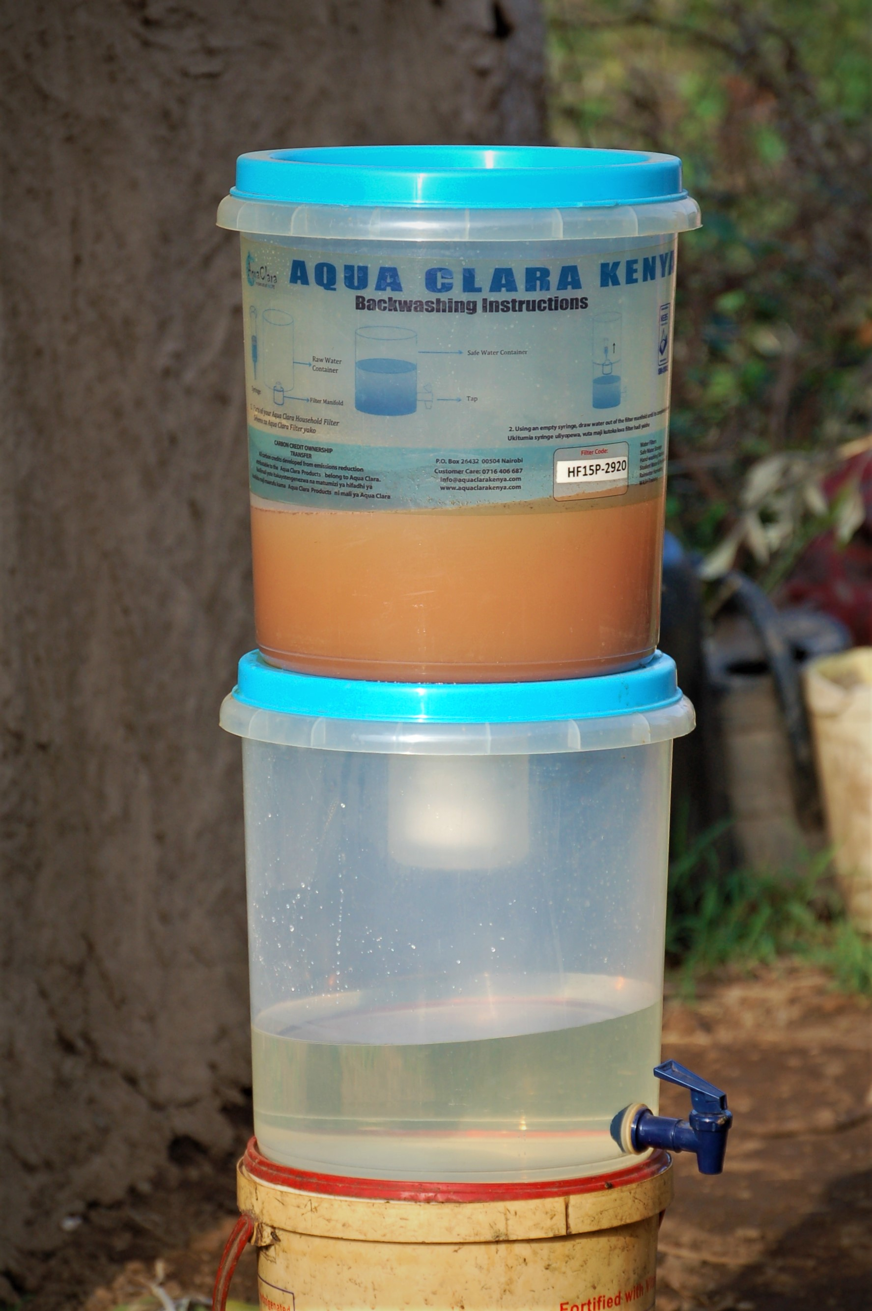 This filter is a hollow fiber membrane filter that removes 99.9% of disease causing bacteria. It is produced and sold in Kenya, not shipped in from the West. The participants contributed a small amount to receive the filter (it wasn't just given for free) to help us/AquaClara research best practices for the WASH program. Later, the teachings and filters will be able to be used more widely throughout Kenya and even East Africa.