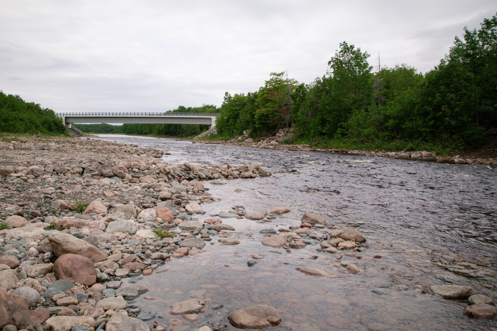 Completed rock retarding bars in upstream site (above Cabot Trail bridge)