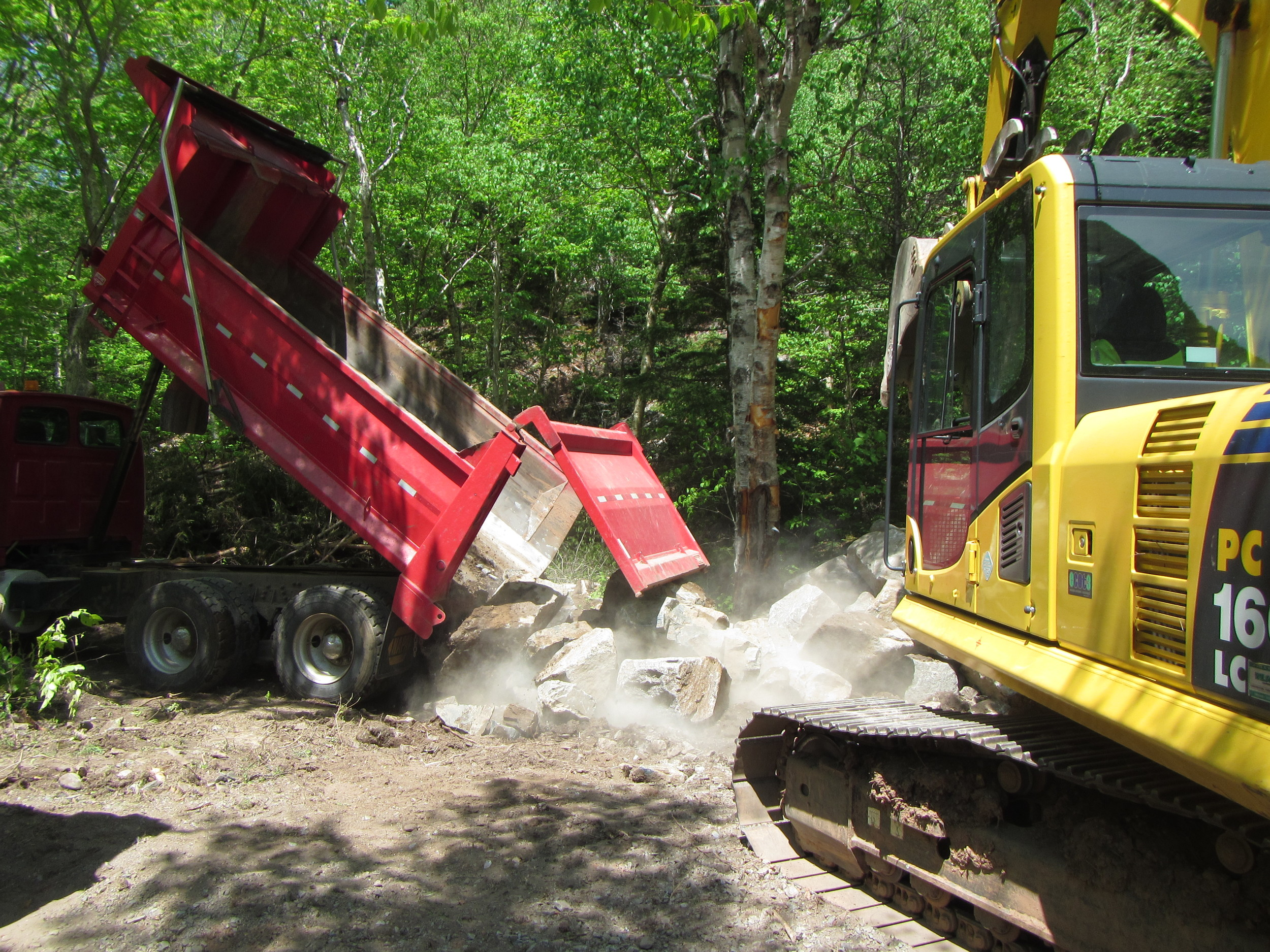 Boulders being stock piled at the work site.