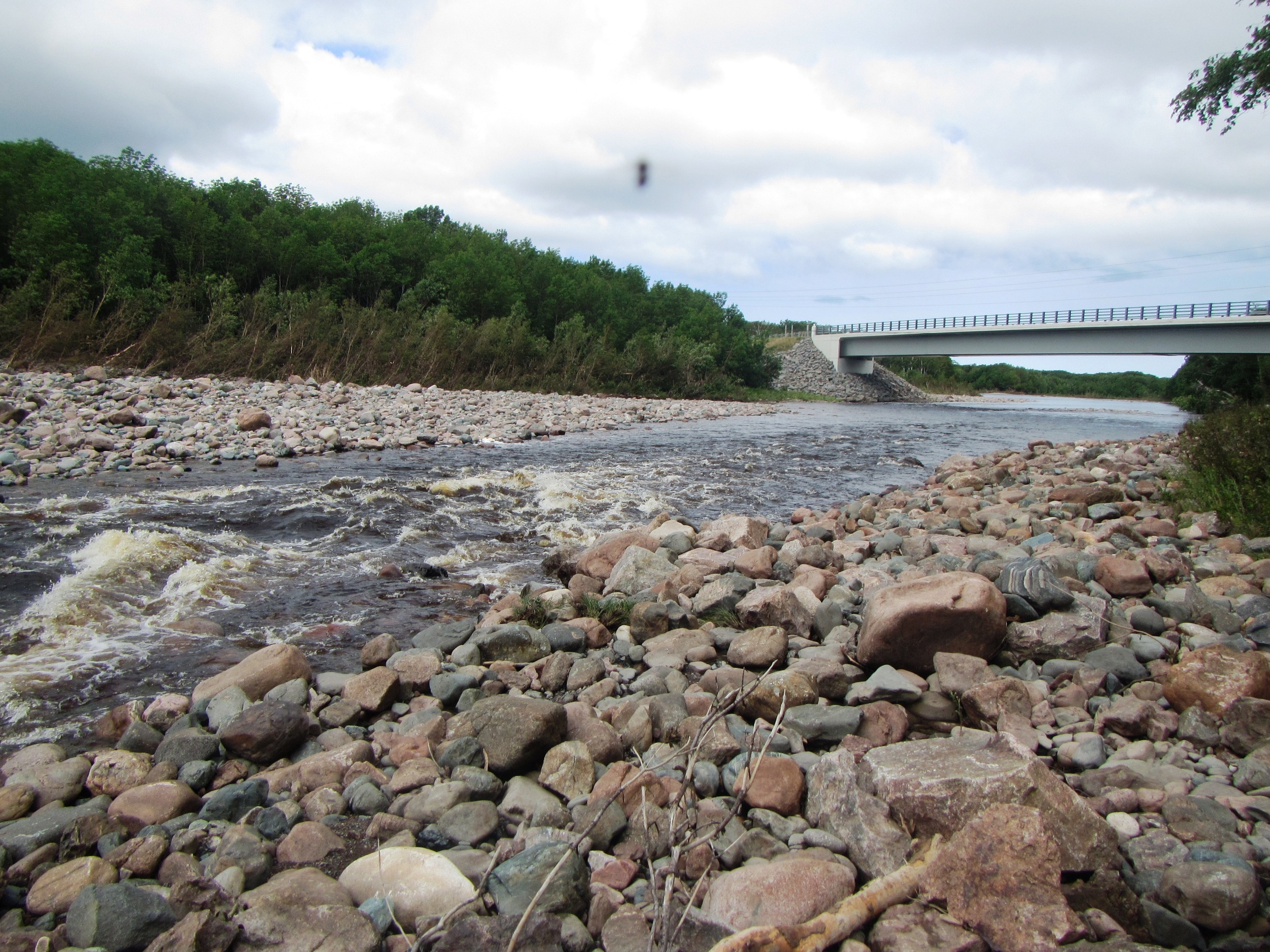Work site above the Cabot Trail bridge (looking downstream) after the August, 2015 flood event. The flooding further narrowed the channel here (the instream structures had already contributed to the narrowing and deepening of the channel in this site) and led to the formation of another new pool.