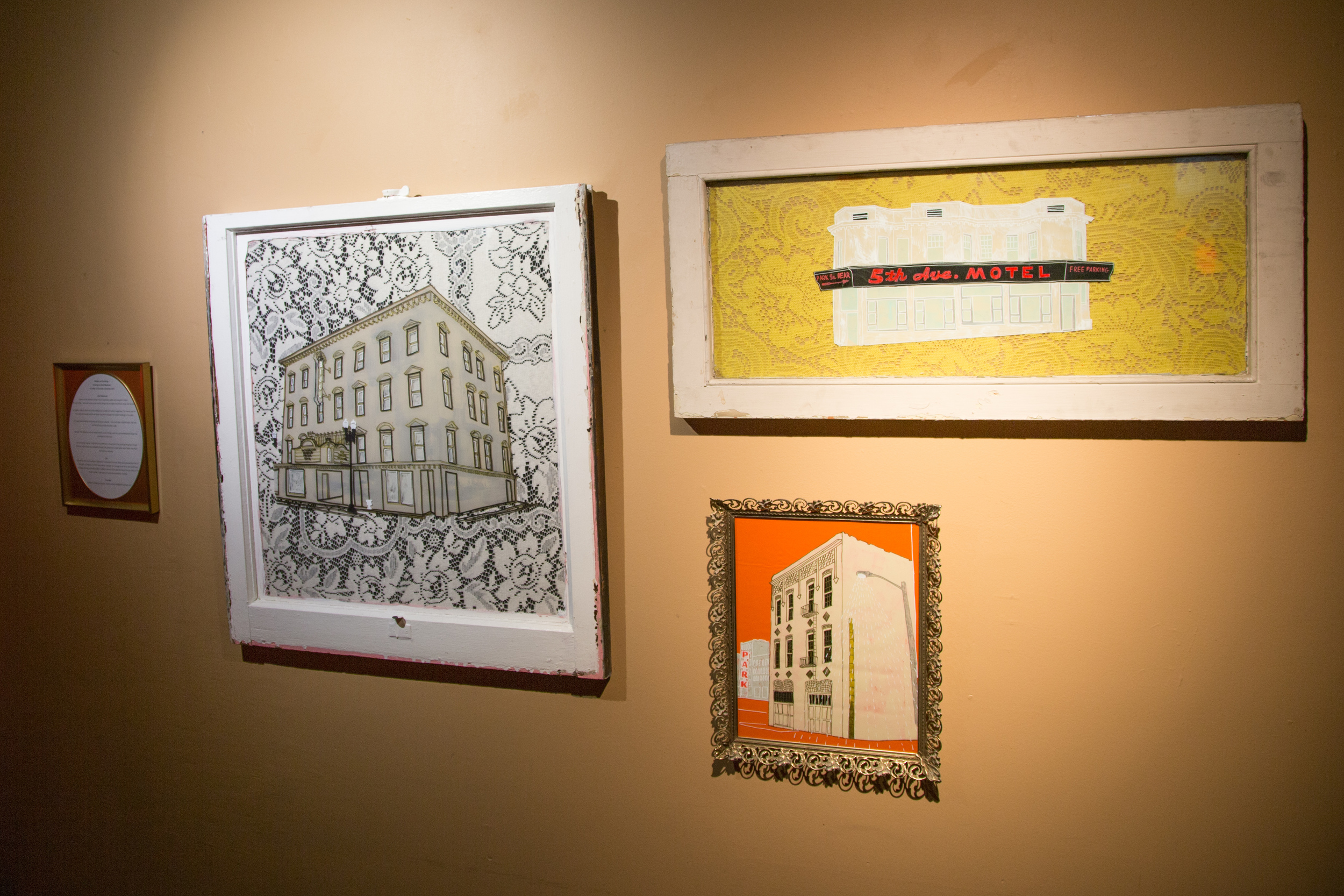 Historic Knoxville Buildings  paint pen and acrylic on acetate, lace and fabric, framed in salvaged windows and recycled frames. Photo by Matthew Higginbotham.