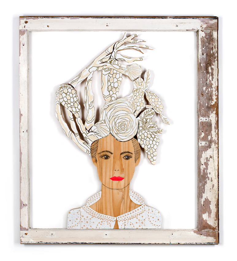 Wooden Lady, reclaimed wood in salvaged window, 2015