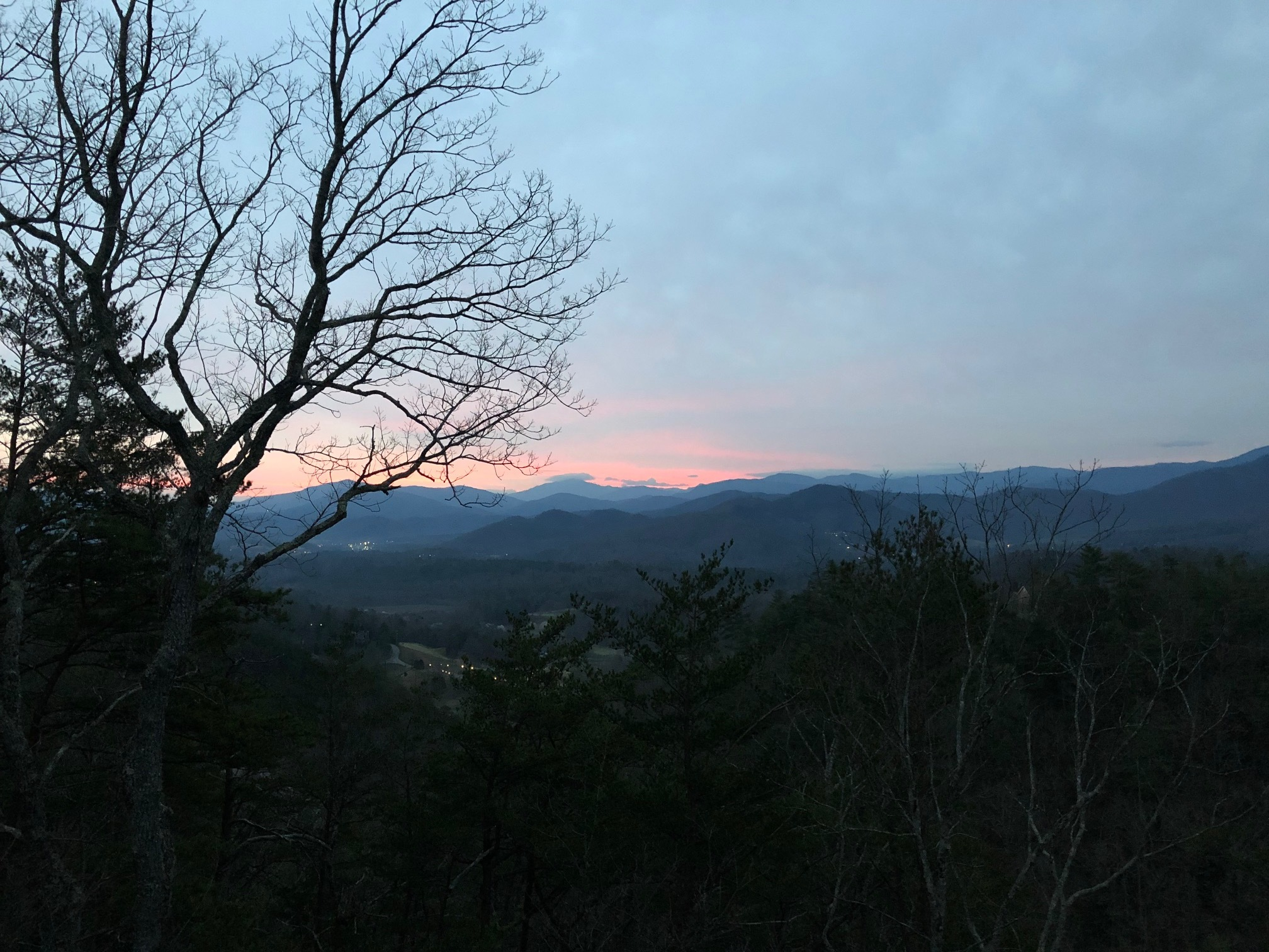 View from the deck in Townsend, looking at the Great Smoky Mountains.