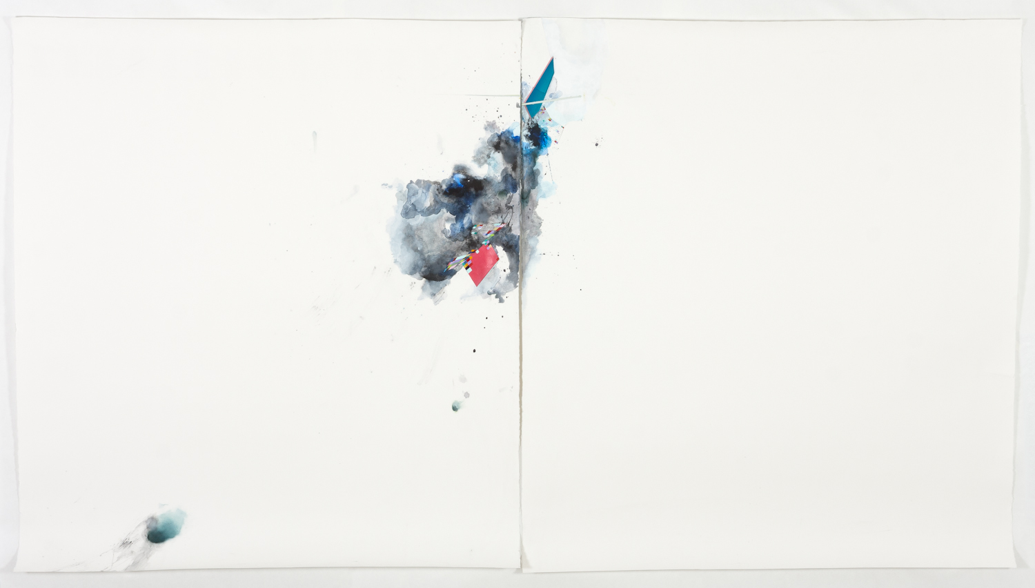 """ursting Down, 2013, mixed media on paper, 60"""" x 102"""""""