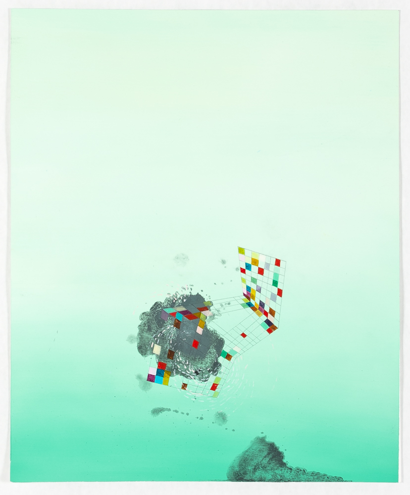 """Push, 2013, oil and graphite on paper, 14"""" x 11"""""""