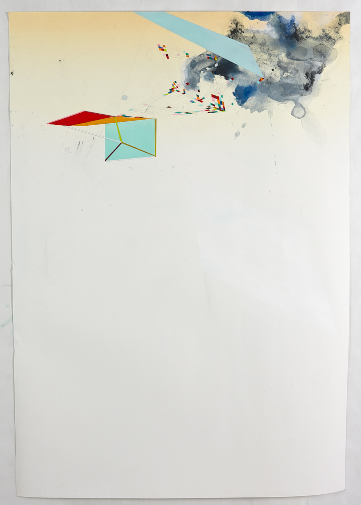 """Pop-Out, 2013, mixed media on paper, 46"""" x 38"""""""