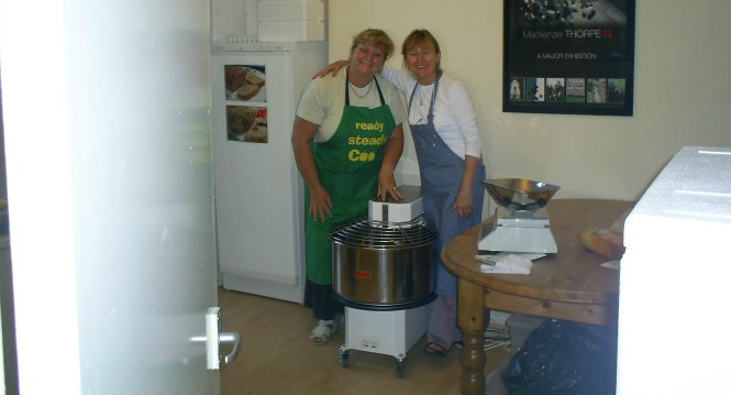 The 45kg mixer, with Bernadette and Hazel Kelly, who cooked for us long ago and in recent years has been a brilliant stallholder for us, along with her family.