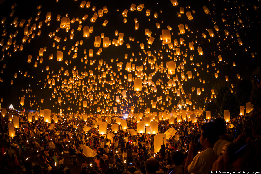 Lanterns floating in Chaingmai, Thailand Huff post.jpg