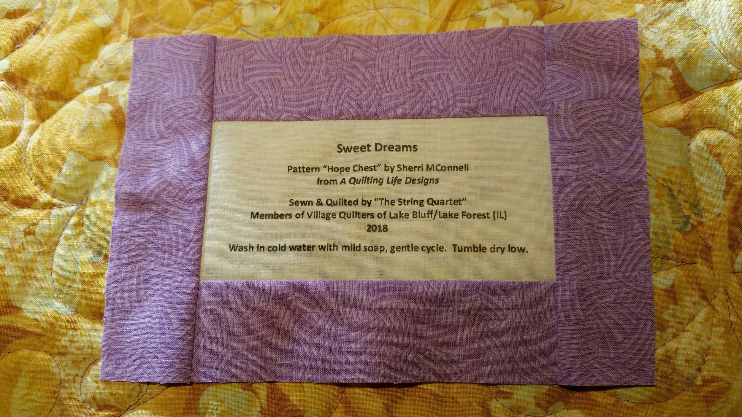 Sample Label for Iron Quilter