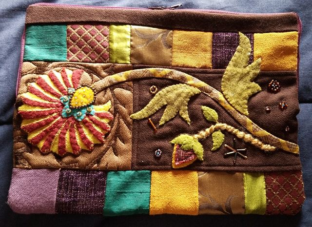 """See """"Fabula Tabula"""", a quilted tablet case, by Kearstie Grenier at our upcoming show.  Quilts from the Village will be held October 4-5, 2019, in Libertyville, Illinois. #VQshow2019 #QuiltsfromtheVillage #quilting #quilt #sewing #quiltshow #VillageQuilters #VillageQuiltersLBLF"""