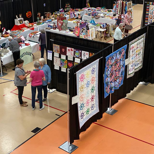 Scenes from the quilt show today. Join us Saturday (October 5, 2019) to see Quilts from the Village at the Libertyville Sports Complex.  #VQshow2019 #QuiltsfromtheVillage #quilting #quilt #sewing #quiltshow #VillageQuilters #VillageQuiltersLBLF