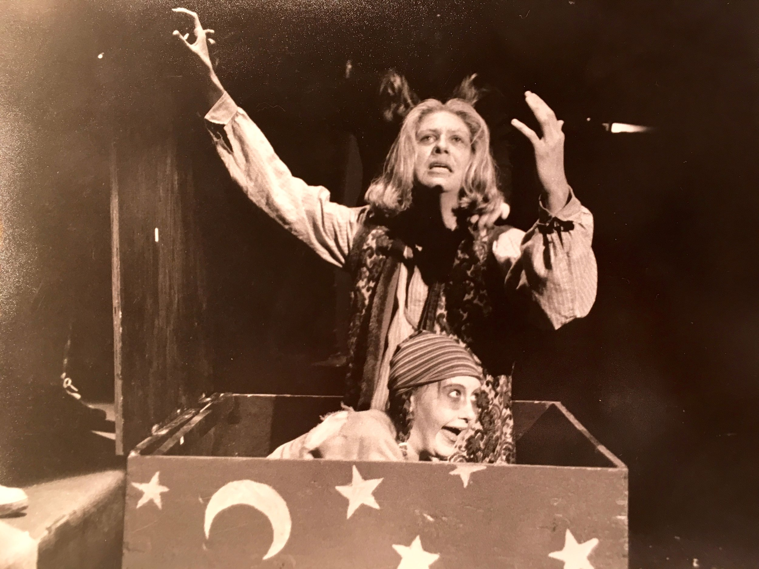 """16 year old SUE-bo as """"the person who dies"""" with kenny Braziel, bringing down the house in """"the Fantasticks,"""" Albuquerque, 1994"""