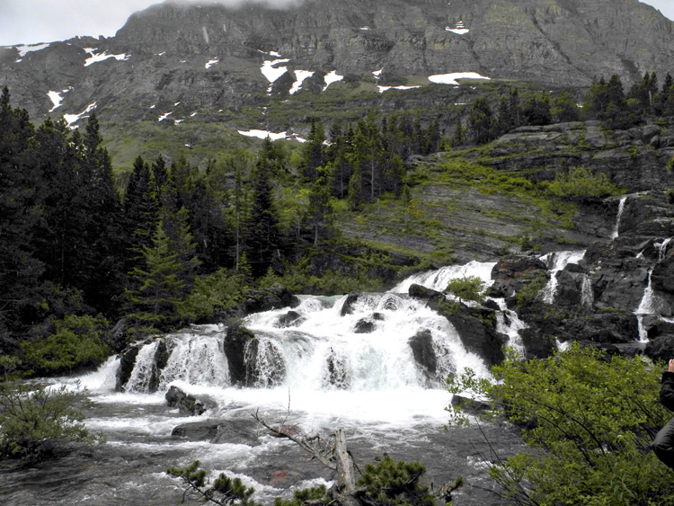 Red Rock Falls (in the Many Glacier area) on a rainy day.