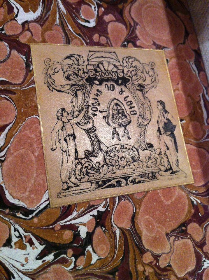 Leather letterpress ex libris.
