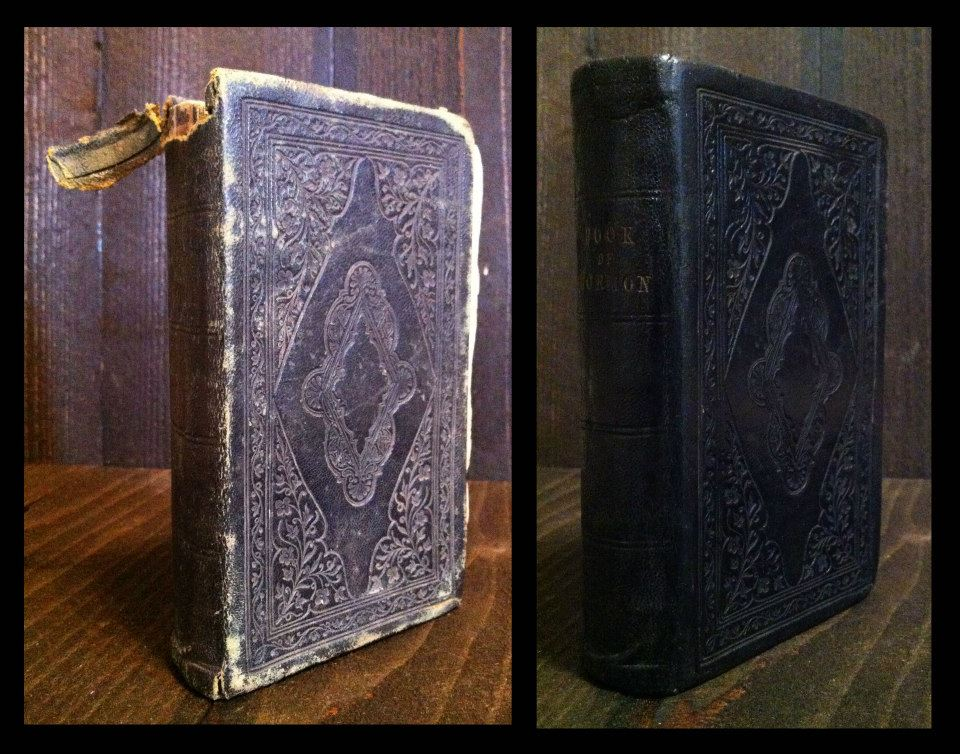 1852 Book of Mormon, resewn and extensive repairs to the cover.