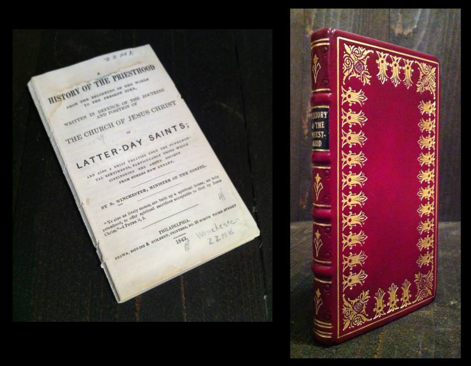 A period rebinding of a small book called The History of the Priesthood from the 1800s.
