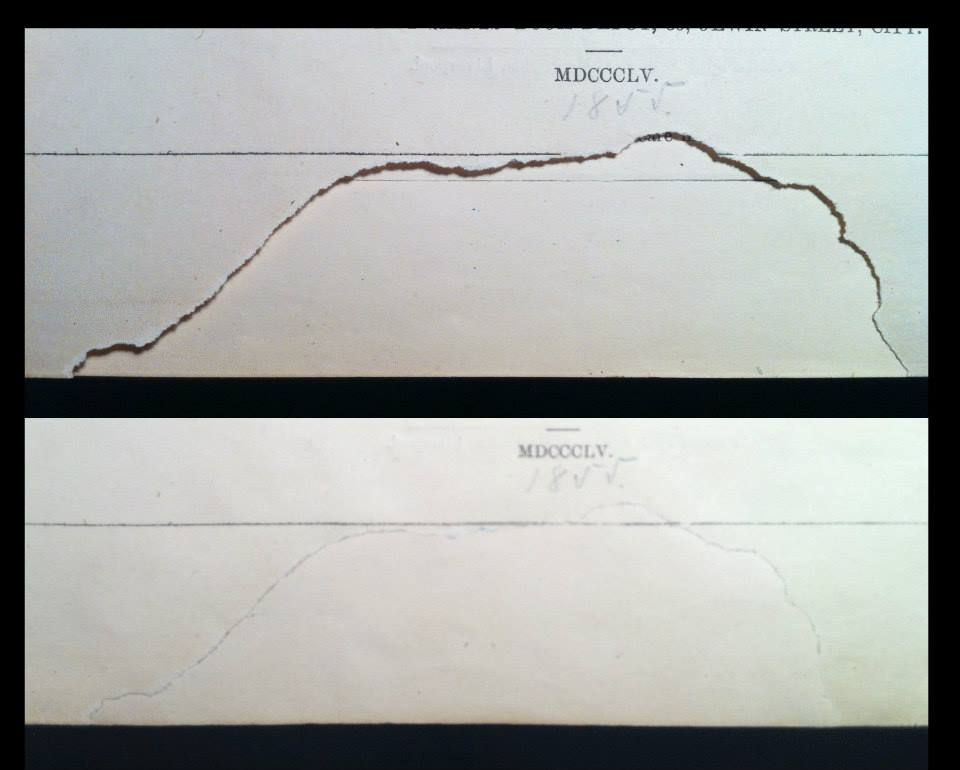 Before and after paper mends.
