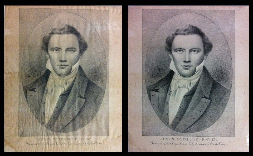 A beautiful lithograph from the 1800s of Joseph Smith. We washed and mended the paper so it will last a long time.