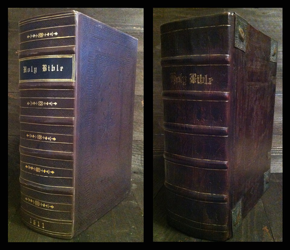 Before and after 1611 King James Bible Rebind. The book had already been rebound, if you're a bit confused. Our goal in rebinding the bible was to make sure it was properly preserved and then rebound with a period appropriate binding. The after should look older. . .