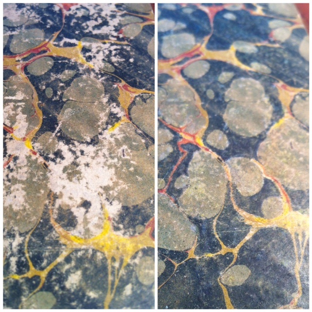 Before and after photo of marbled paper boards.