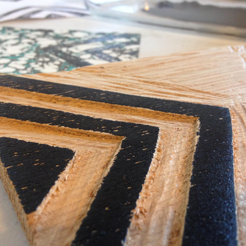 Process shot - Jill's woodcut.