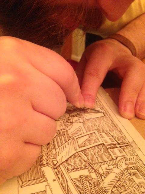 Process shot - Joseph carving his printing block.