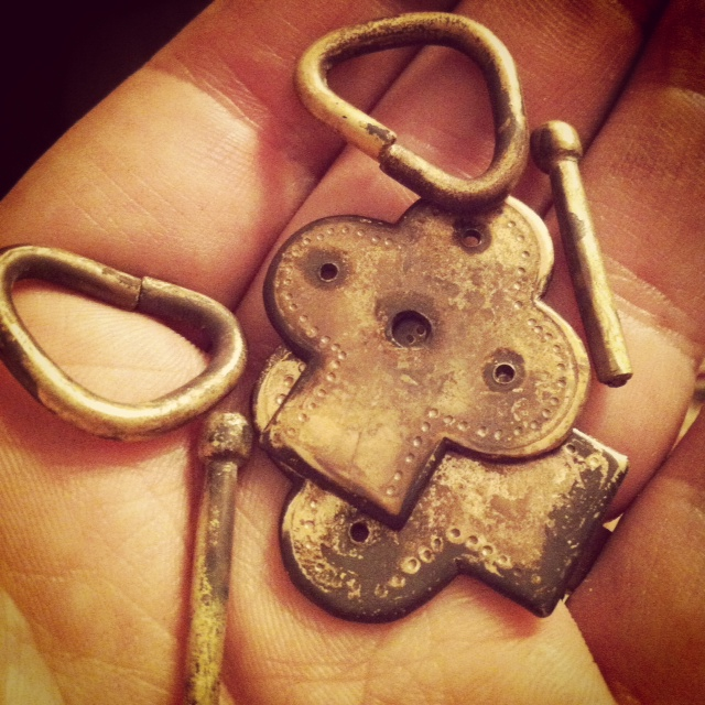 Handmade brass clasps.