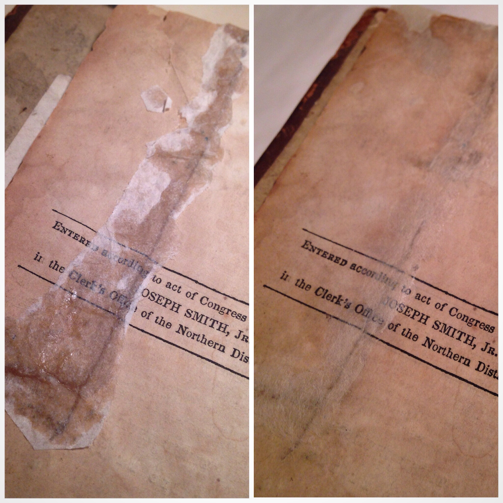 Removing hide glue and tissue from a title page of an 1840 Book of Mormon.