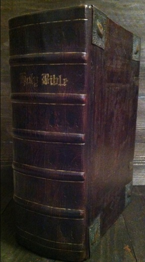 "1611/1613 ""She"" KJV Bible. This is a rebind we did in 2014, using old boards from a German Bible."