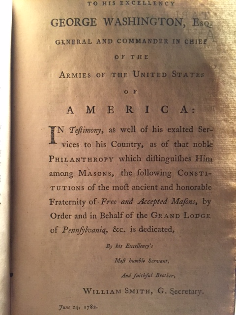 Dedication to George Washington found on page 3.