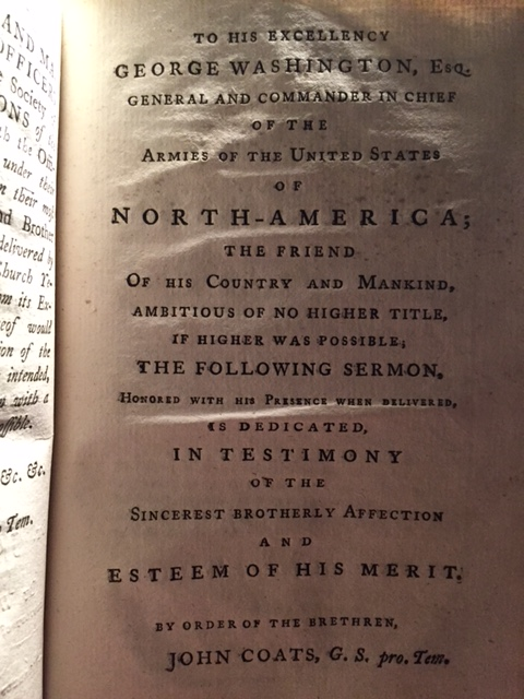 Dedication to George Washington found on page 148.